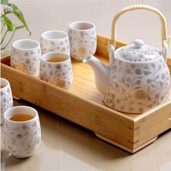 送竹托 景德镇陶瓷茶具套装家用整套功夫现代简约茶壶茶杯子6只装