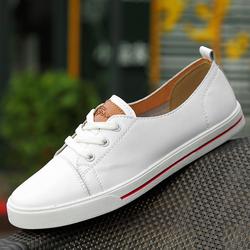 真皮浅口小白鞋平底潮流休闲单鞋