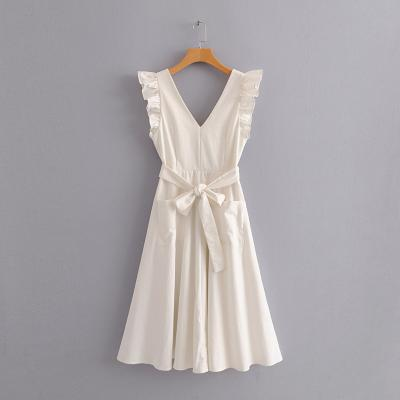 Europe and the United States in the summer of 2018 new slim waist cut-out V-neck Ruffle Dress big swing cotton hemp skirt