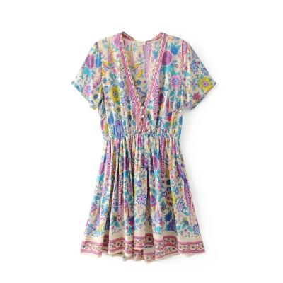 T5000 summer new European and American deep V-neck low breast peacock positioning printing short sleeve holiday dress short skirt women