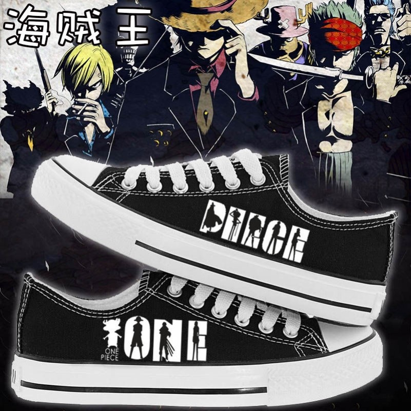 Pirate Wang Lufei, choba 3d2y animation surrounding high top boys and girls, spring and summer graffiti printing low top canvas shoes
