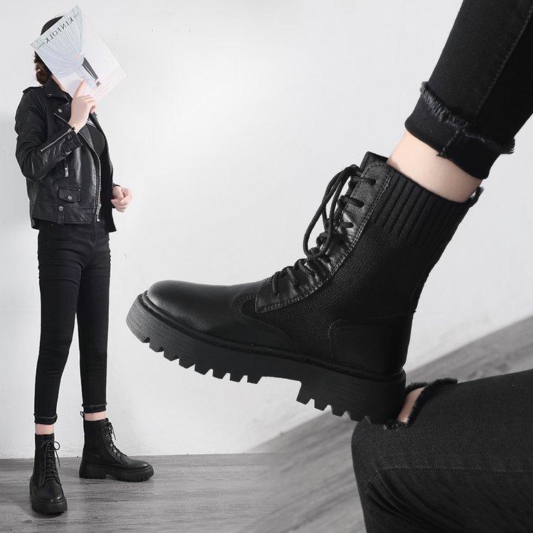 加绒马丁靴女英伦风2019新款百搭帅气秋冬单靴毛线口厚底机车短靴