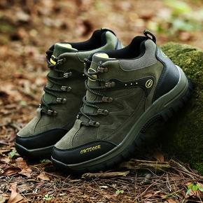 2020秋季新款户外单鞋男皮面运动鞋旅游高腰冲锋大码登山鞋军绿色
