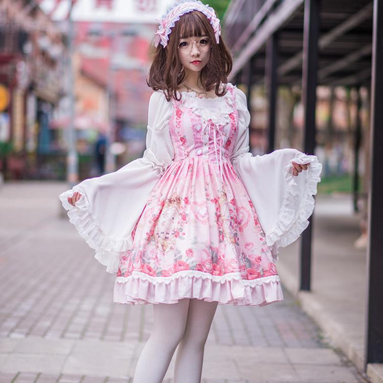 春夏长袖雪纺lolita衬衫抹胸内搭一字领姬袖打底衫搭配JSK连衣裙