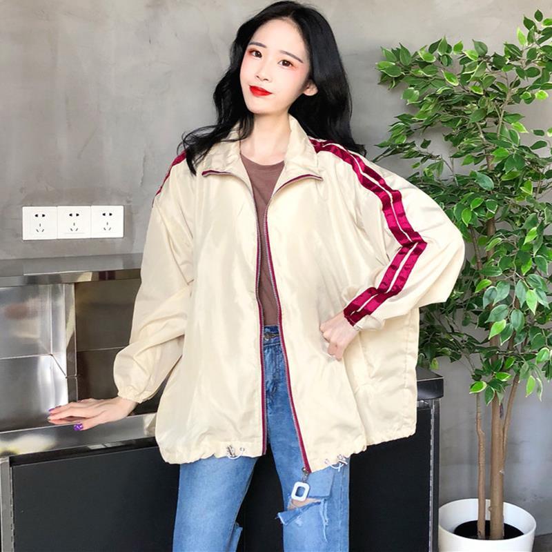 。港风学生外套早秋2018新款女装韩版宽松棒球服双杠运动夹克上衣