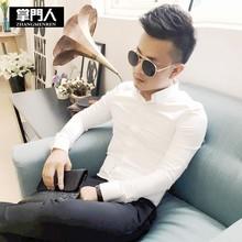 2020新款男长袖衬衫韩版纯色修身青年发型师棉麻纯棉休闲衬衣 白