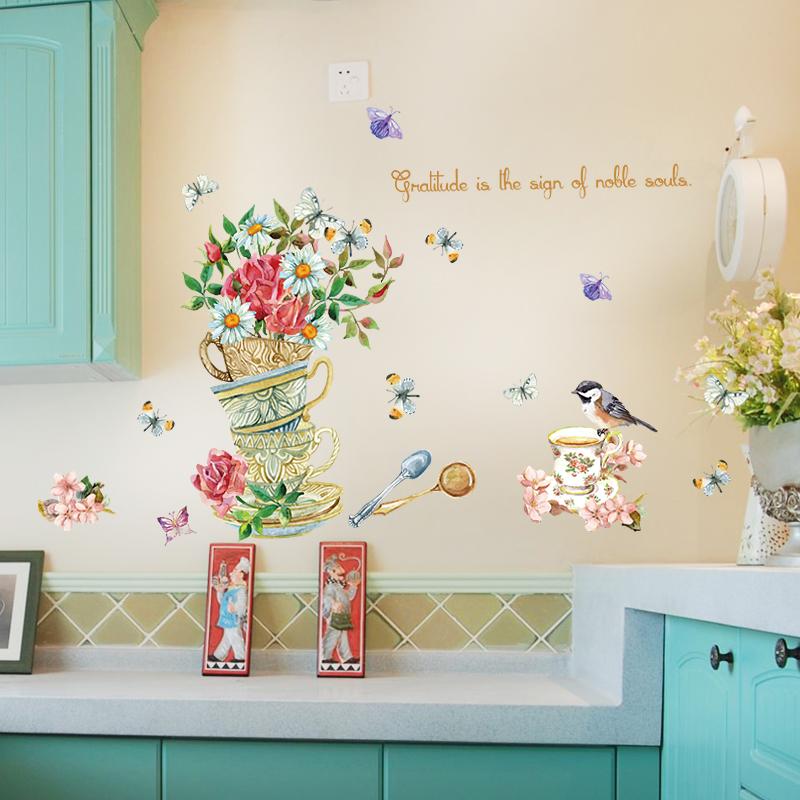 自粘墙贴画手绘创意茶杯墙壁装饰贴画客厅餐厅橱柜贴纸窗花可移除,可领取2元天猫优惠券