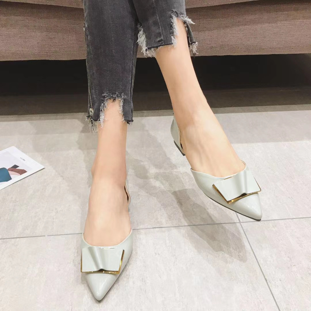 Temperament net red square button pointed small heel high heel female new hollow thin heel fairy single shoes evening shoes green shoes