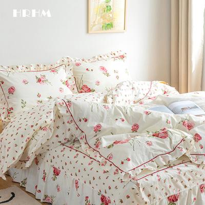 全棉纯棉四件套秋冬家纺床上用品田园碎花床单被套床罩床裙1.8米
