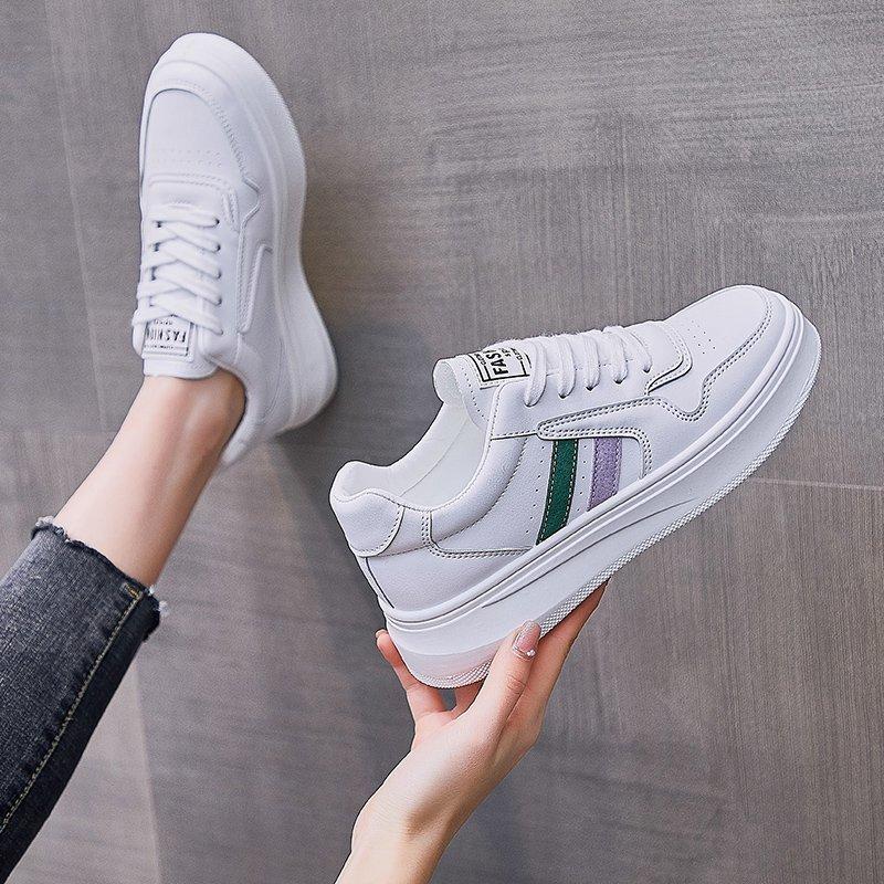 小白鞋女春季新款学生厚底休闲单鞋韩版百搭系带运动板鞋街拍潮鞋