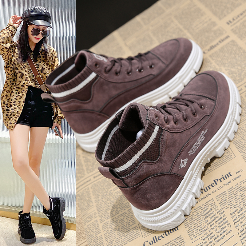 Suede Martin boots womens British style 2021 autumn new versatile short boots student thick soled high top shoes spring and autumn single boots