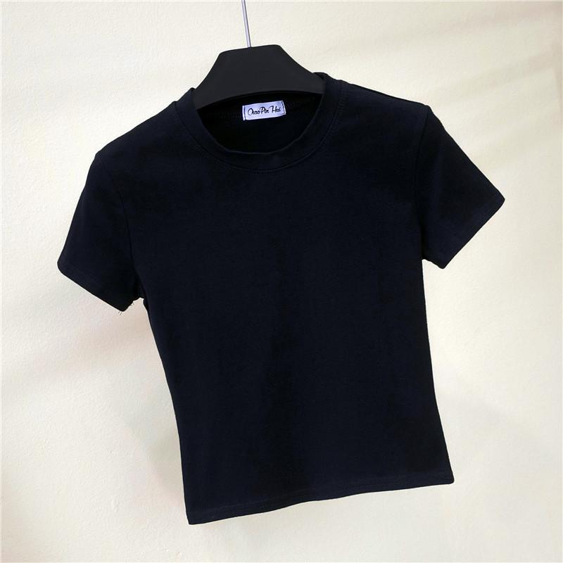 半高领短袖露脐t恤女夏装紧身漏肚脐打底衫短款高腰纯色运动上衣