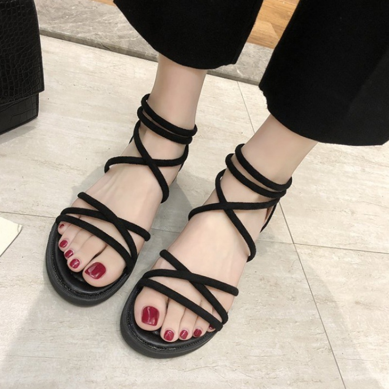 2021 sandals womens summer style Korean fashion simple thin belt ankle cross a fork strap casual flat sandals trend