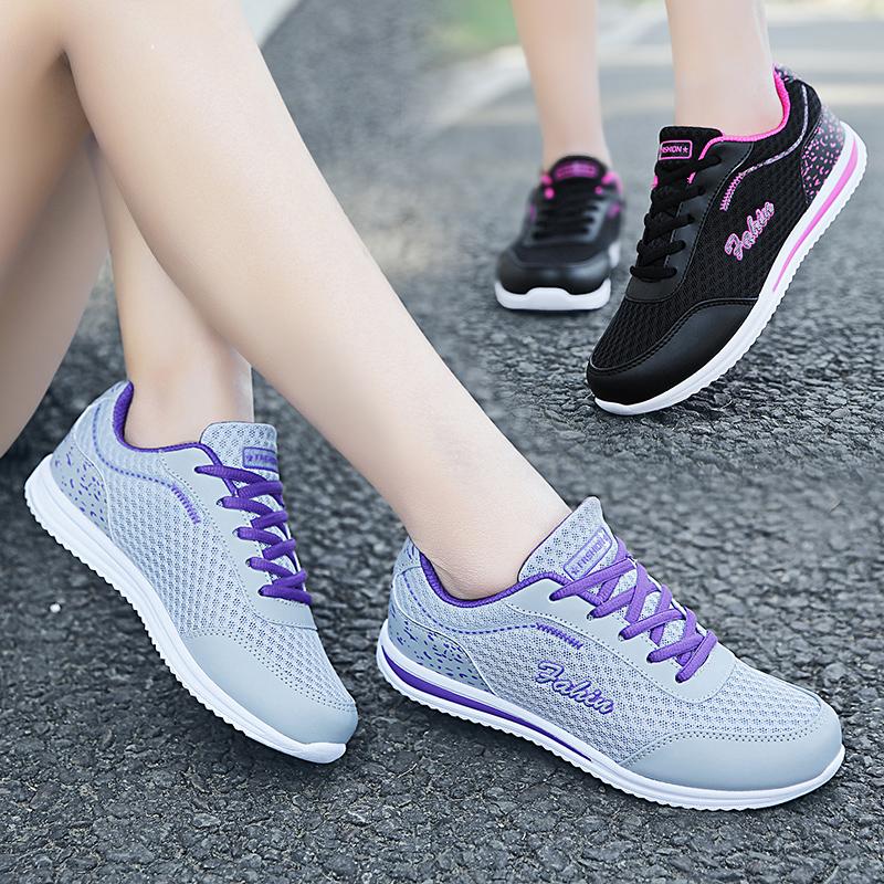 轩尧耐克泰夏季女鞋子新款韩版学生平底跑步鞋休闲鞋黑色网面旅游