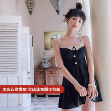 OMOM original swimsuit women 2019 New Black Slim and slim vacation spa conjoined conservative belly-covering swimsuit