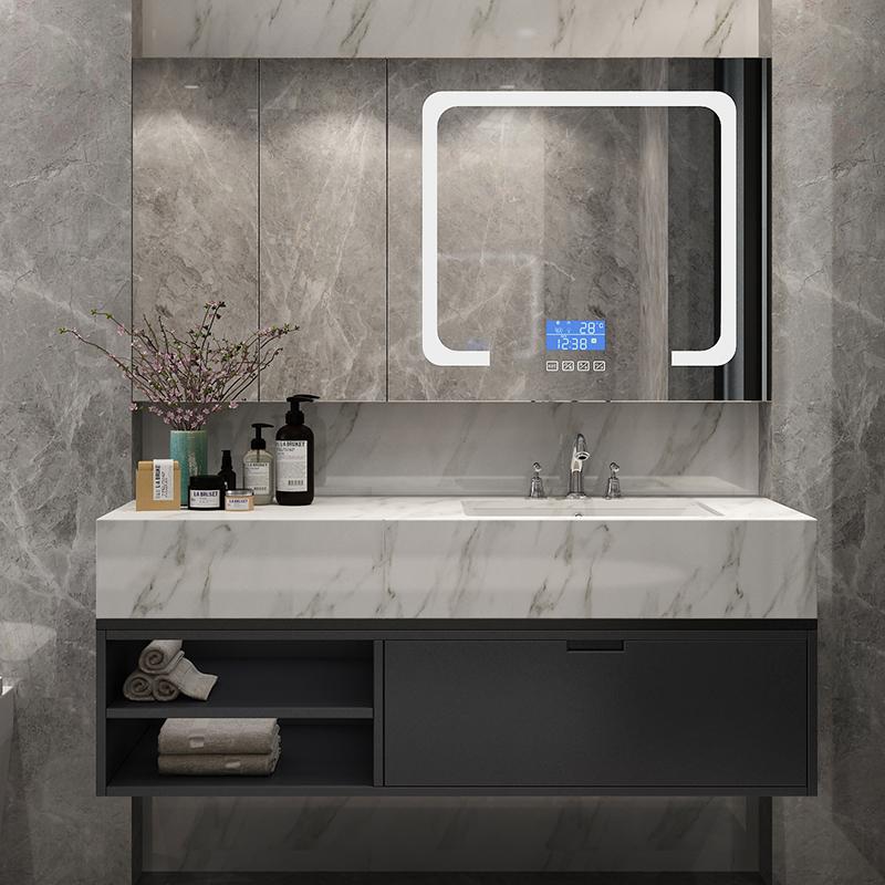现代轻奢实木浴室柜组合简约卫生间岩板大理石台面洗漱台洗脸盆柜