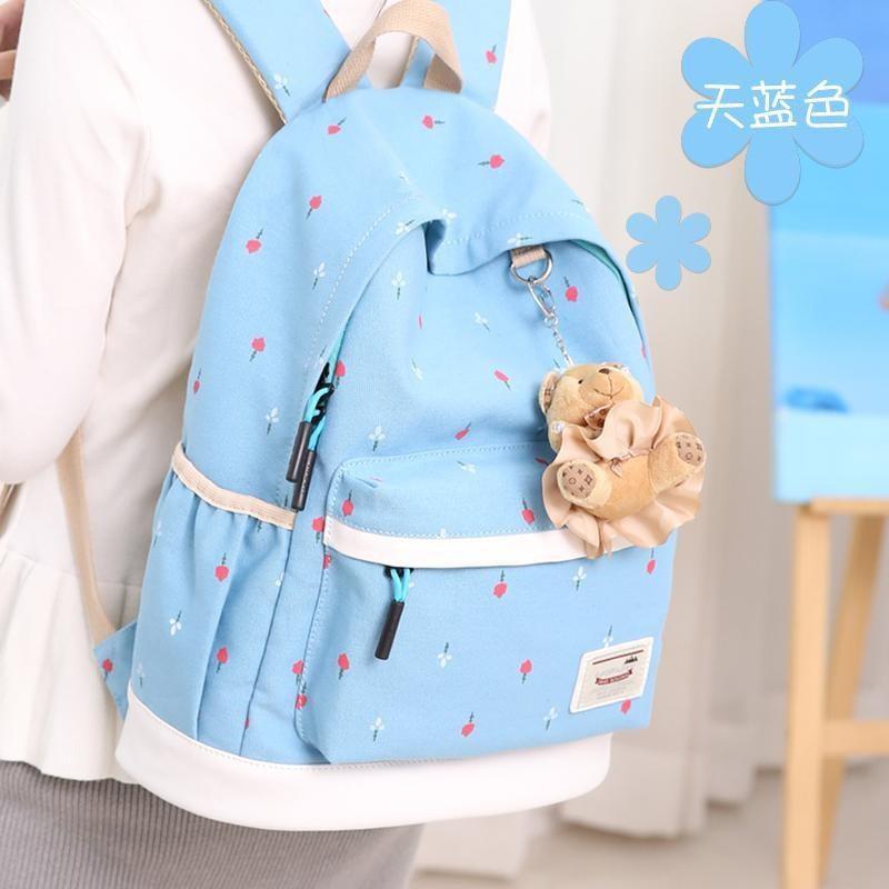 日本购2019小清新书包帆布双肩包背包韩版初中学生女学校园高中