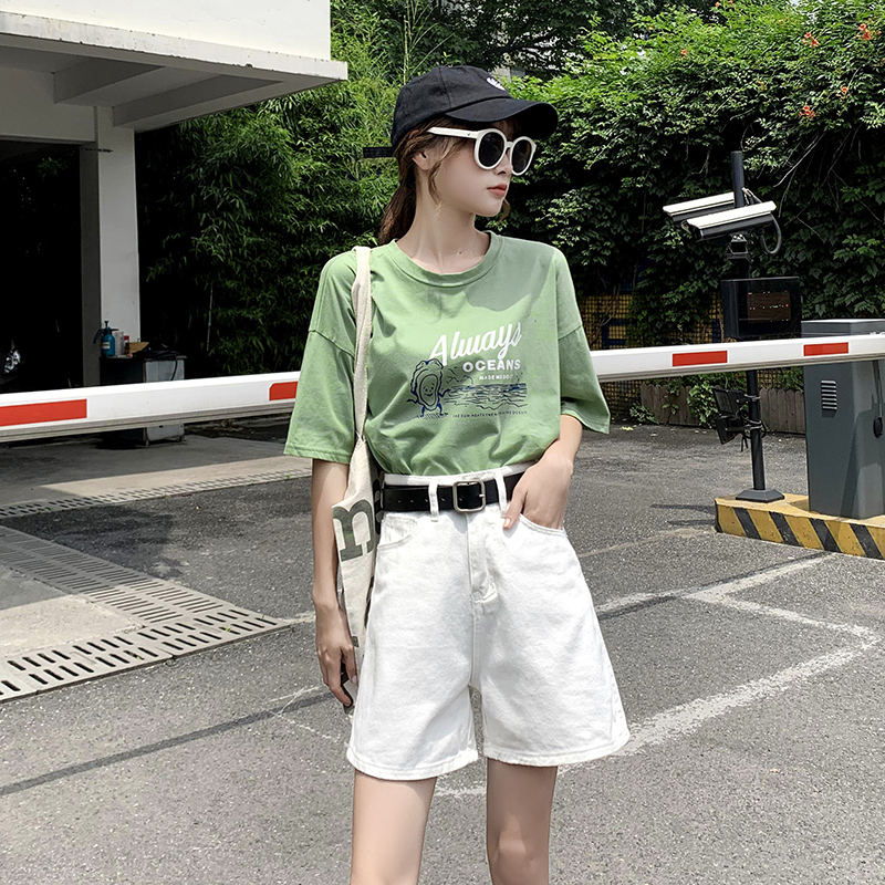 High waisted jeans women 2020 new Korean fashion loose A-line flanging shorts