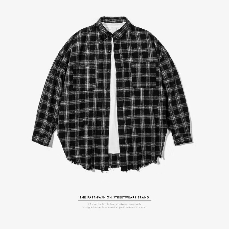 Europe and the United States high street hip hop brand retro damage over size loose check lovers long sleeve shirt men