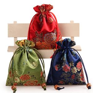 牡丹花首饰袋饰品收纳袋束口袋锦囊小布袋佛珠袋文玩袋定做11*14