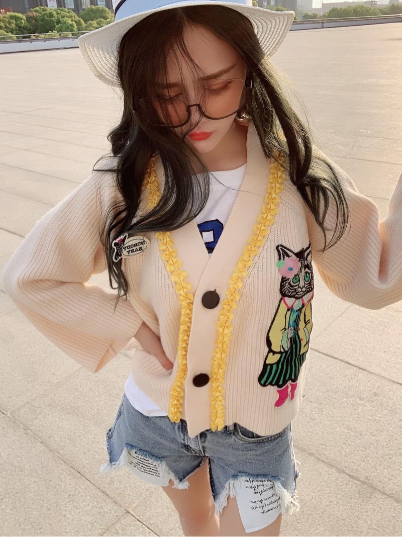 韩国东大门秋装复古减龄可爱猫咪贴布宽松针织开衫毛衣外套短款女