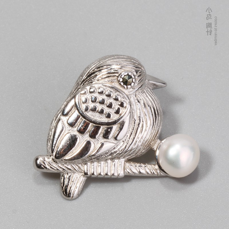 925 Sterling Silver Bird Brooch Japanese cute fashion couple accessories childlike suit coat silver collar needle ceremony
