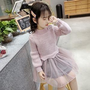 女童毛衣连衣裙2019秋冬装儿童季小女孩洋气新款公主毛线针织裙子
