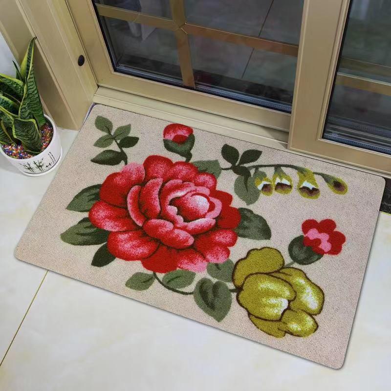 玄関にマットを敷いて、客間の玄関ホールの浴室の滑り止めトイレの台所はカーペットを裁断して入ることができます。