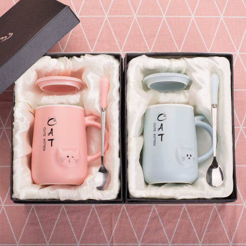 创意可爱杯子陶瓷带盖勺韩版马克杯情侣水杯一对潮流女学生咖啡杯