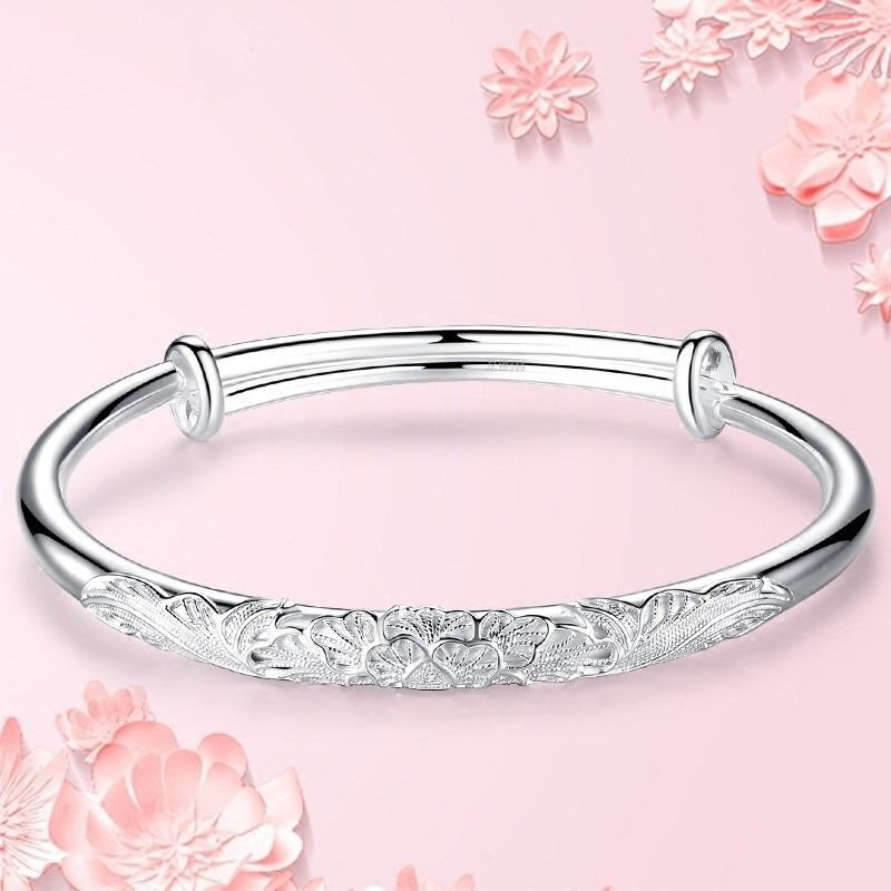 Pure silver bracelet female s999 drunken flower Yin silk solid bracelet push pull silver bracelet send mother girlfriend gift mori
