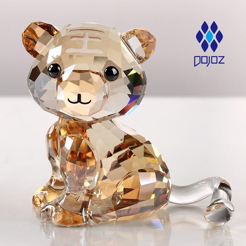 生日礼物水晶老虎摆件十二生肖家居装饰品创意可爱卡通情人节礼物