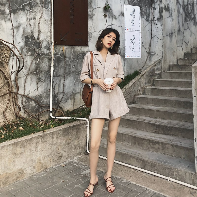 Jumpsuit womens summer 2019 new Korean version of one-piece suit suit with waistband closing waist showing thin wide leg pants