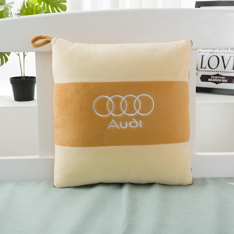 汽车抱枕被子两用水晶绒多功能三合一车载抱枕一对车上折叠被四季