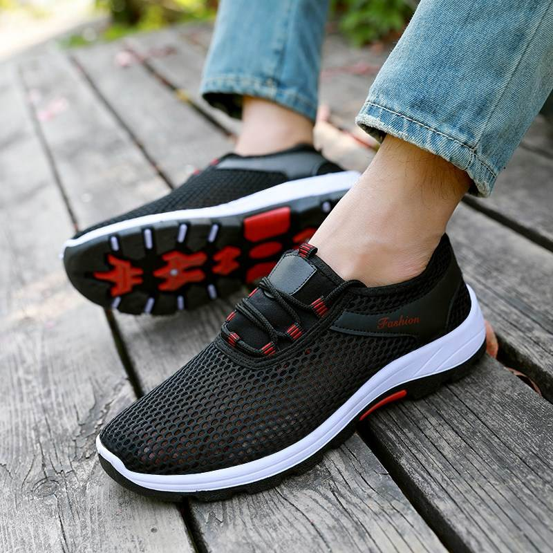 Mesh shoes mens spring summer womens shock absorption summer mens low top mesh face mens ventilation mens sports performance mesh shoes wear-resistant