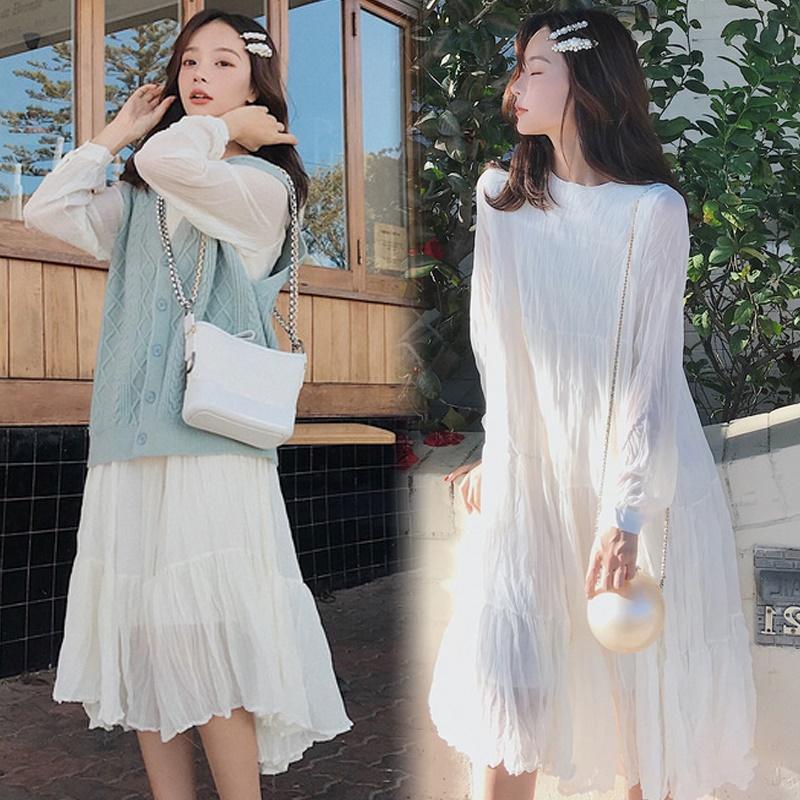 [不如遇见GM连衣裙]潮妈两件套长裙子新款长袖夏季春秋款菲月销量0件仅售81.27元