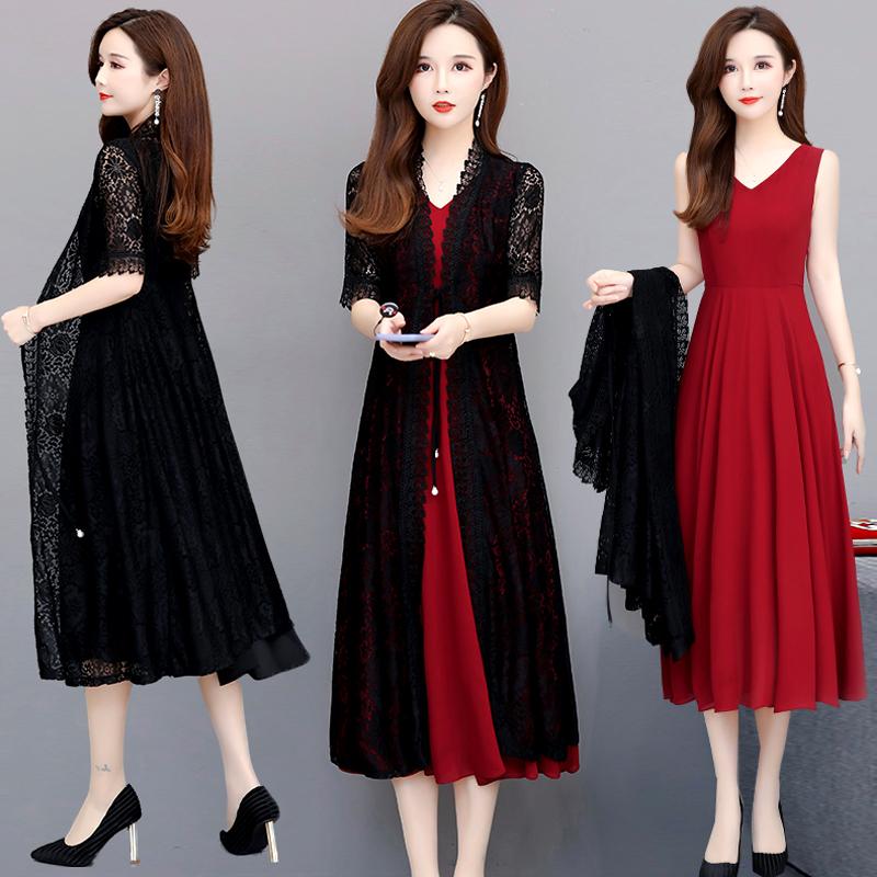 阔太太连衣裙两件套2020新款夏装蕾丝中长款显瘦气质过膝裙子潮女