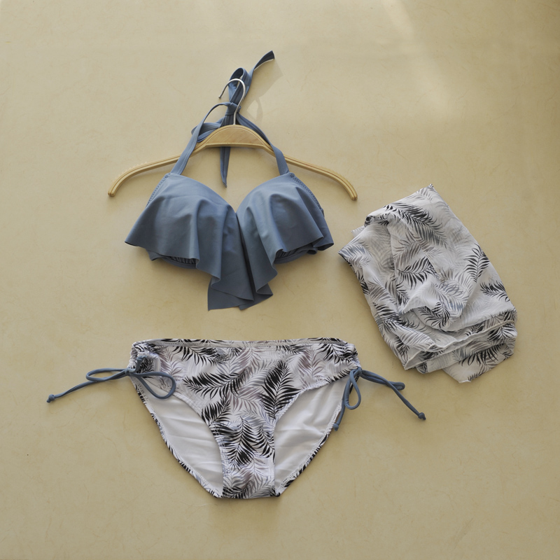 暖暖-韓國性感聚攏荷葉邊比基尼游泳衣三件套系帶三角溫泉泳裝女