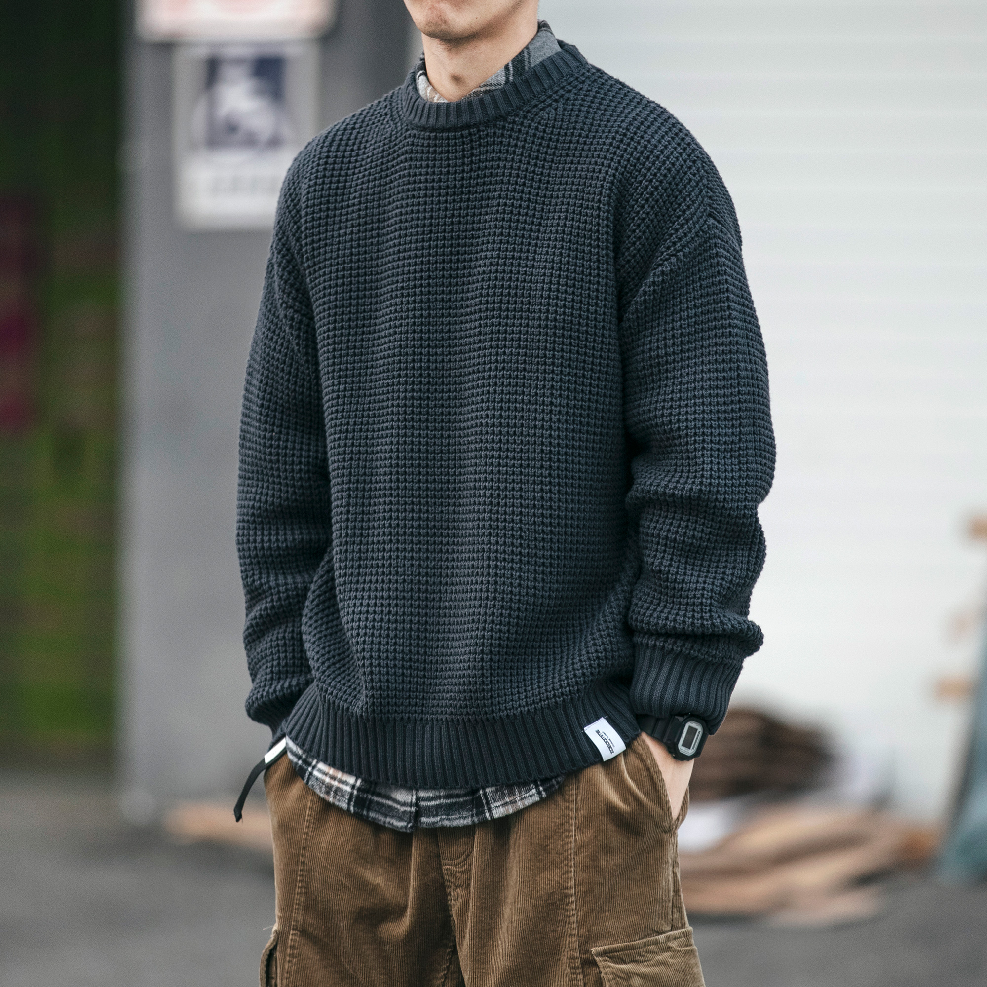 Heavy 800g winter sweater men's thick knit sweater Korean version of the trend loose solid color casual inner couple jacket