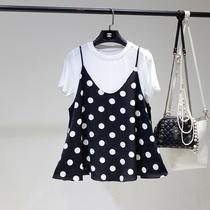 夏季女装甜美小清新宽松百搭短袖冰丝T恤波点吊带背心两件套上衣