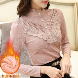 依芭璐艾诺丝大品牌女装专柜正品2020折扣价风季候蕾丝长袖雪纺衫