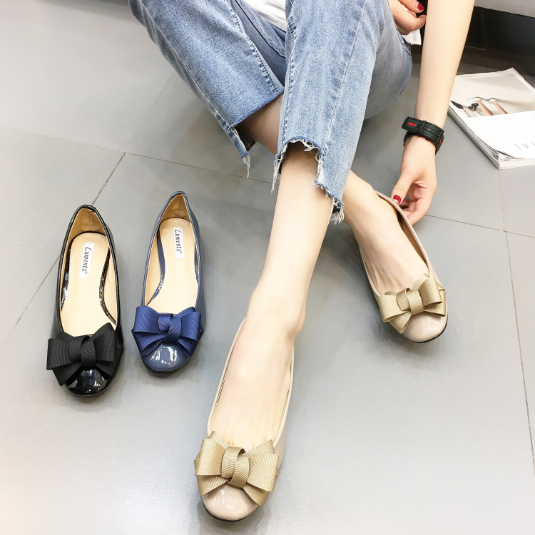 Spring 2018 Korean thick heel round head shallow mouth single shoe middle heel bow for commuting comfort and versatile womens shoes package mail