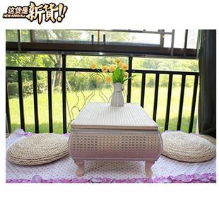 飘窗茶几草编竹编茶几地台桌和室茶m棋桌炕几套装蒲草茶台墩子图片
