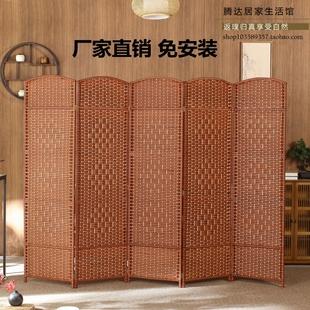 简约客厅卧室折屏简易折叠移动实木屏风 创意手工草编屏风隔断时尚
