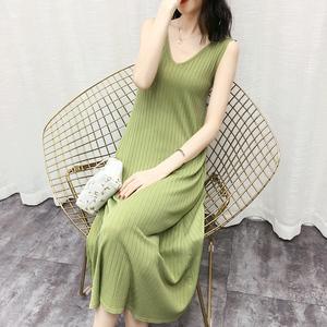 冰丝针织连衣裙夏中长款外穿V领打底韩版宽松薄款孕妇无袖背心裙