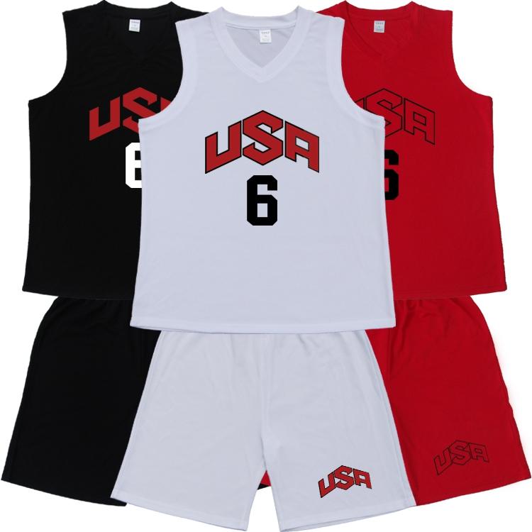 USA美国队6号罗斯球衣梦之队成人款篮球训练服套装定做加肥加大码