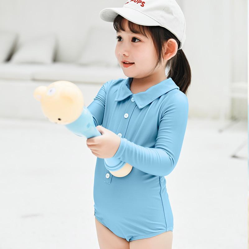 儿童泳衣女童公主宝宝小童长袖防晒连体女孩游泳衣2-9岁 莫兰迪色82.00元包邮