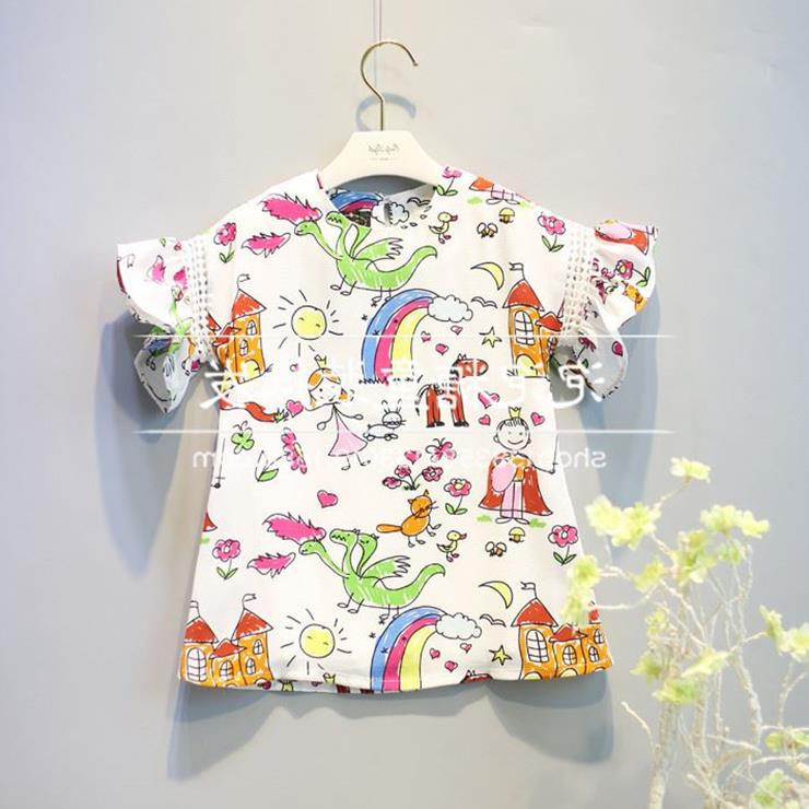 «Распродажа» летние девушки короткие юбка костюм мультфильм граффити колокол рукав платье ребенка короткие юбки