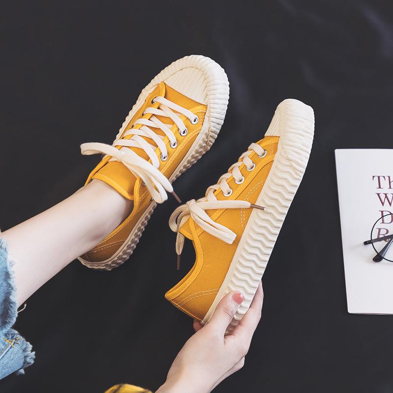 低帮帆布鞋女小白鞋休闲饼干鞋原宿韩国超火INS鞋焦糖硫化鞋平底