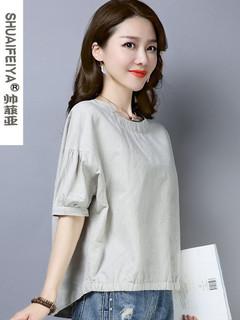 亚麻短袖女装夏季2020新款文艺宽松t恤灯笼袖大码小衫棉麻上衣