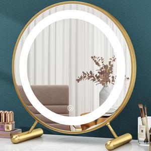 带led灯化妆镜台式桌面学生大号梳妆镜子宿舍网红补光ins化妆圆镜